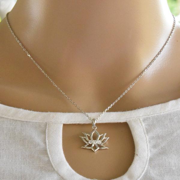 Lotus flower pendant, lotus pendant, lotus jewelry, yoga jewelry
