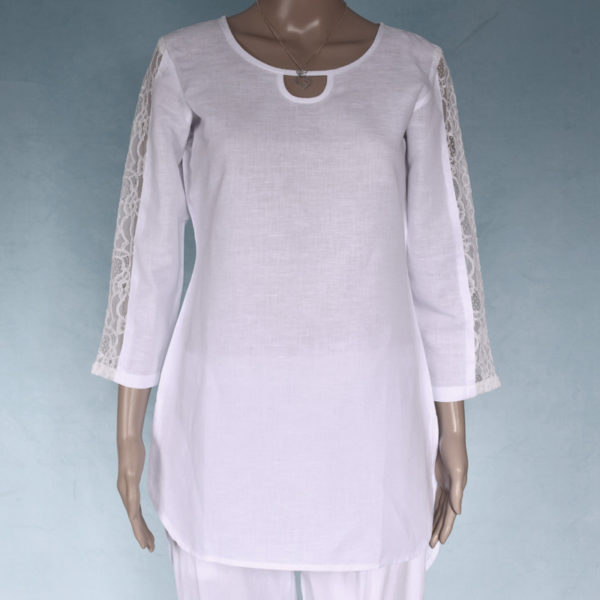 Ladies lace sleeve tunic linen blend