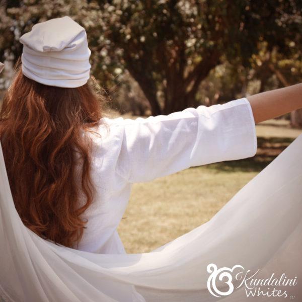 Bell sleeve tunic in linen blend