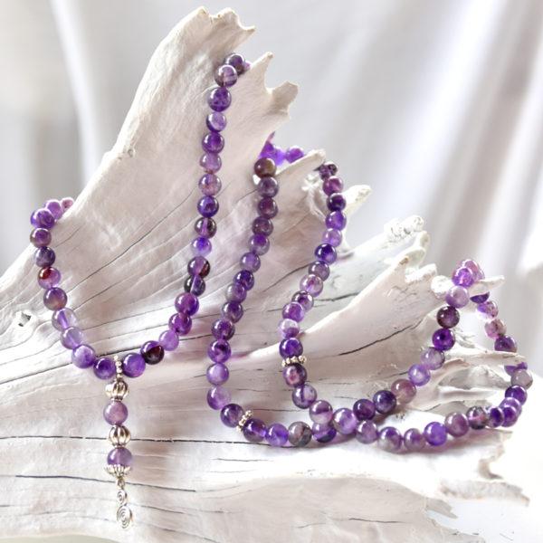 Mala Amethyst, crystal mala, japa mala, meditation mala