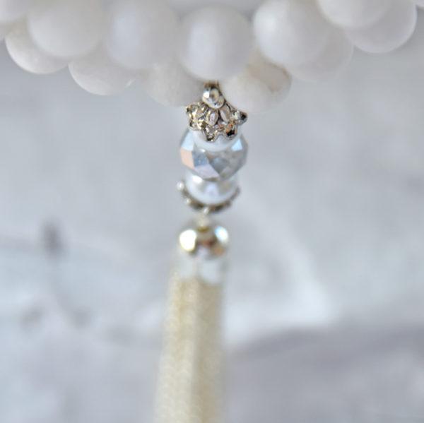 Mala quartz, snow quartz, crystal mala, japa mala, meditation mala
