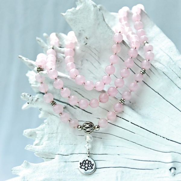 Mala rose quartz, rose quartz mala, mala bead rose quartz, japa mala rose quartz, meditation bead rose quartz