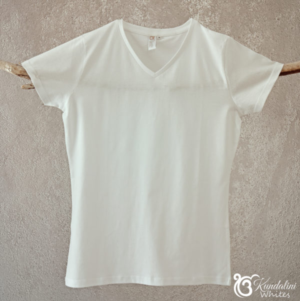 Ladies V-neck T-shirt in 100% cotton