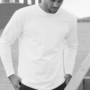 Mens cotton T-shirt long sleeve, 100% cotton T-shirt