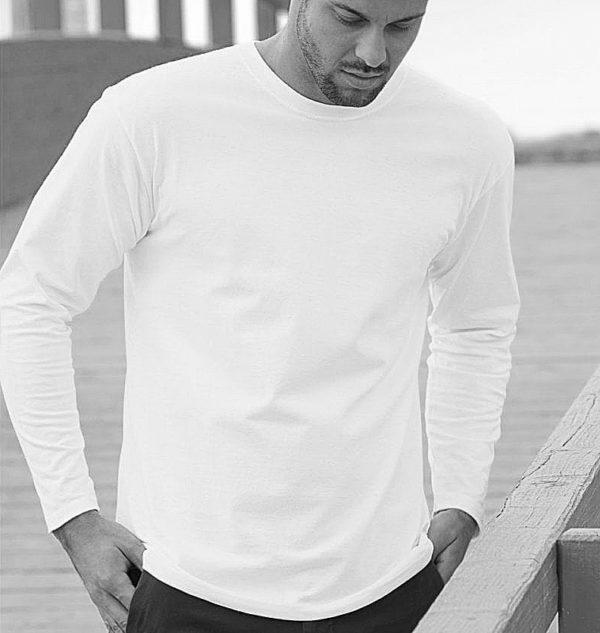 Mens cotton T-shirt long sleeve, 100% cotton T-shirt