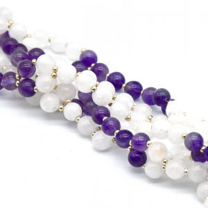 Tantric Mala Amethyst and White Agate