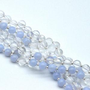 Tantric Mala Blue lace, clear quartz