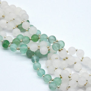 Tantric Mala Fluorite and White Jade