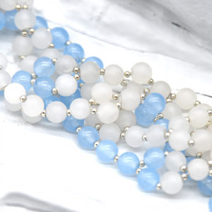 Tantric mala aquamarine and white jade