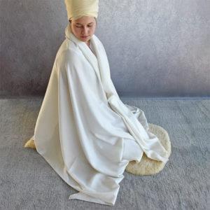 Meditation prayer shawl extra large white wool