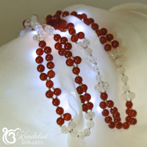 Carnelian plus quartz tantric necklace