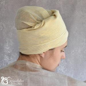 Cream and gold turban slimline
